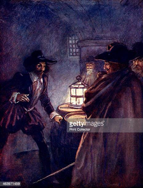 'Stern men with drawn swords closed in upon him' The Gunpowder Plot Guy Fawkes is discovered in the cellars of the Houses of Parliament Illustration...