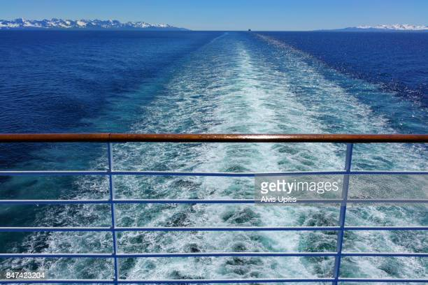 Stern view from cruise ship on Inside Passage to Alaska