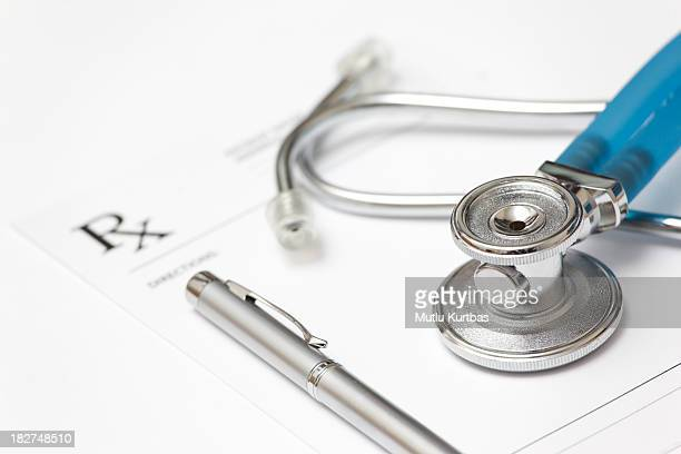 Stethoscope and prescription pad with pen