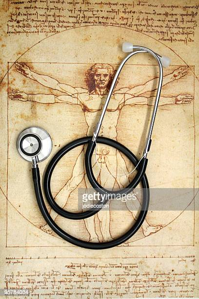 Stethoscope and Vitruvian Man