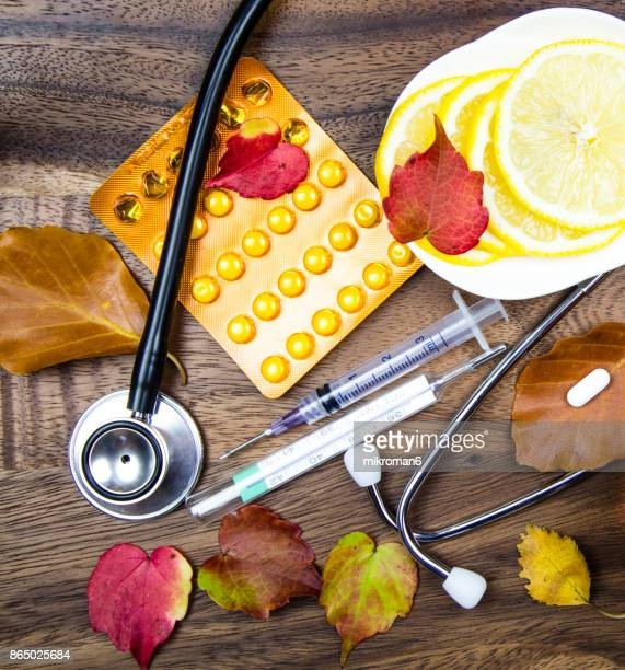 Stethoscope, Capsules and pills and Digital medical thermometer. Medical concept