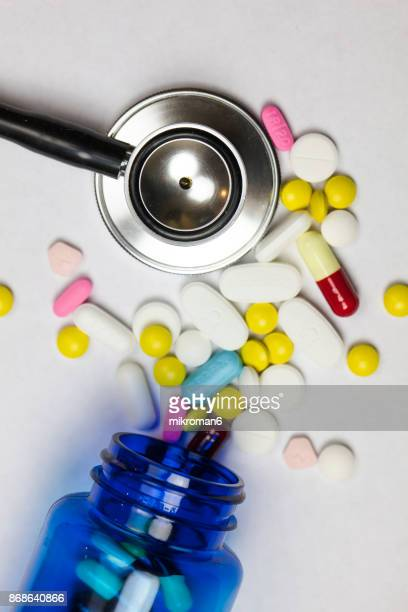 Stethoscope, Capsules and pills On white background. Medical concept