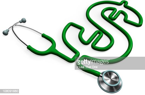 Stethoscope forming a dollar sign : Stock Photo