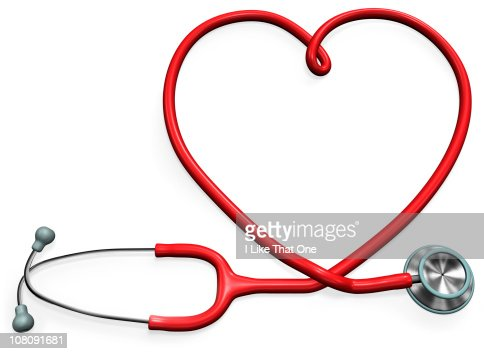 Stethoscope forming a heart shape : Stock Photo