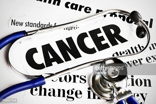 Stethoscope lying on Cancer headlines