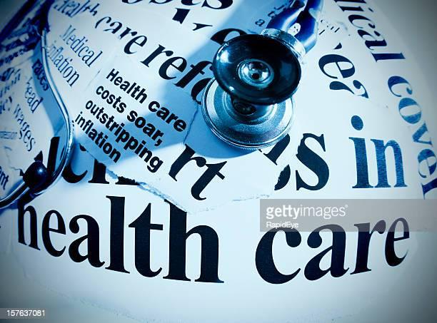 Stethoscope on healthcare headlines, shot with fisheye lens