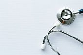 Close-up shot of stethoscope on table.