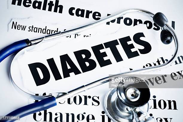 Stethoscope rests on headlines concerning diabetes