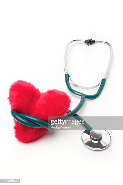Stethoscope with Fuzzy Red Heart White Background