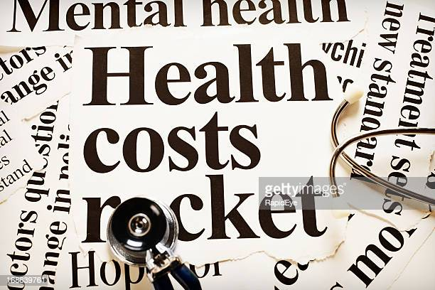 Stethoscope with headlines on increasing healthcare costs