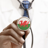 Stethoscope with national flag conceptual series - Wales