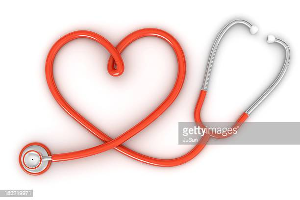 Stethoscope with red heart shaped cord