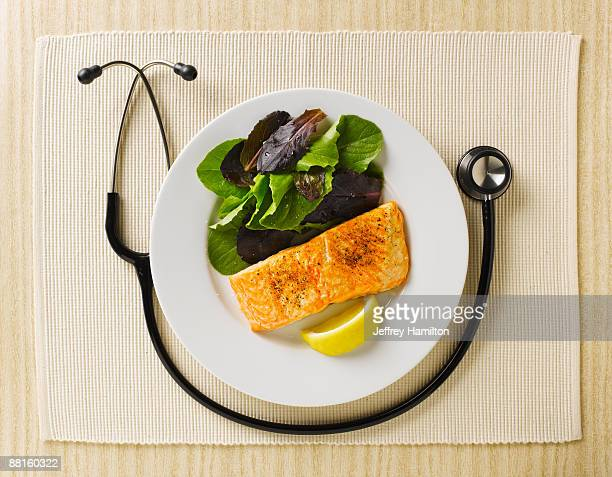 Stethoscope wrapped around plate of healthy food