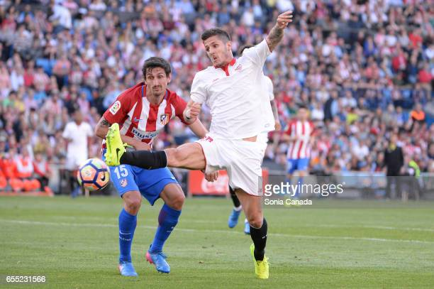 Stevan Jovetic #16 of Sevilla FC during The La Liga match between Atletico Madrid v Valencia FC at Vicente Calderon on March 19 2017 in Madrid Spain