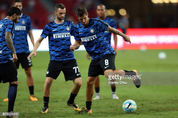 Stevan Jovetic and Marcelo Brozovic of FC Internzionale during the International Champions Cup players warm up sessions between FC Bayern and FC...