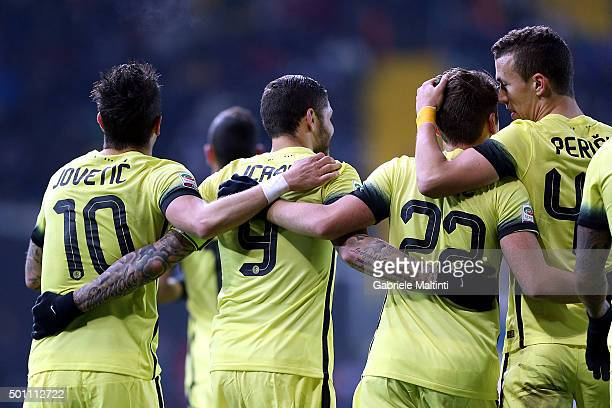 Stevan Jovetic and Mauro Icardi of FC Internazionale Milano celebrate after scoring a goal during the Serie A match betweeen Udinese Calcio and FC...