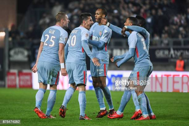 Stevan Jovetic and team of Monaco celebrates during the Ligue 1 match between Amiens SC and AS Monaco at Stade de la Licorne on November 17 2017 in...