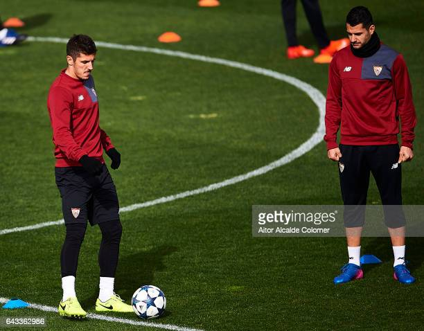 Stevan Jovetic and Victor Machin Perez 'Vitolo' of Sevilla FC in action during their training session prior to their match of Champions League Round...