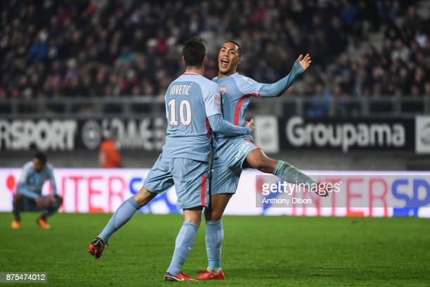 Stevan Jovetic and Youri Tielemans of Monaco celebrates a goal during the Ligue 1 match between Amiens SC and AS Monaco at Stade de la Licorne on...