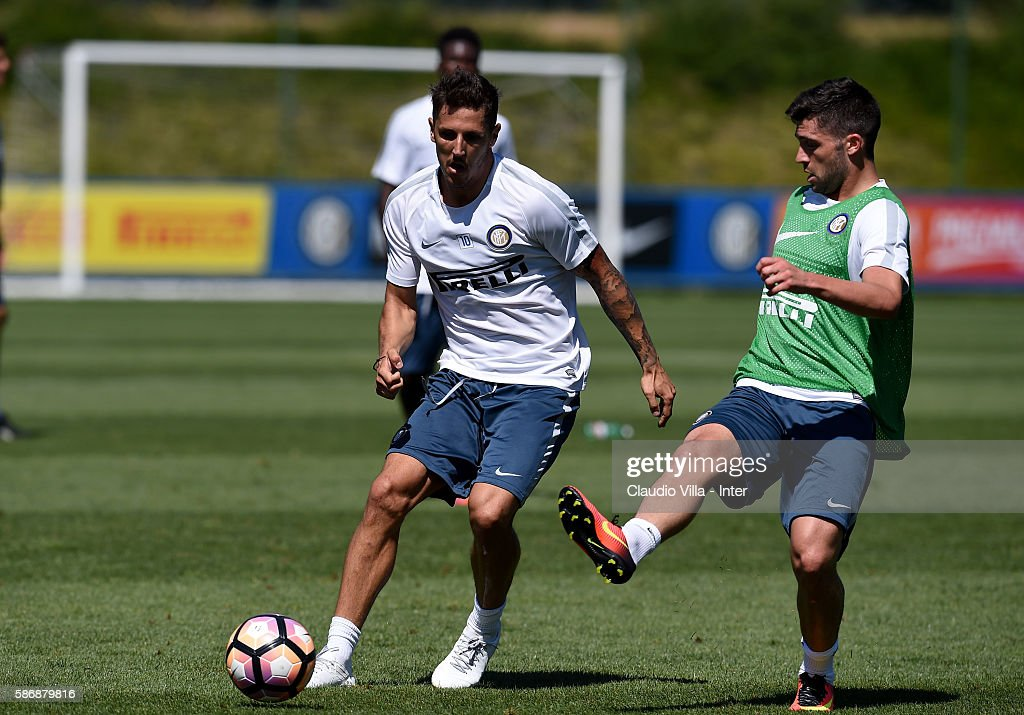 Stevan Jovetic in action during a FC Internazionale training session on August 7, 2016 in Milan, Italy.