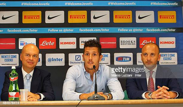 Stevan Jovetic is presented as new signing for FC Internazionale Milano by Sportif Director of FC Internazionale Milano Pietro Ausilio and FC...