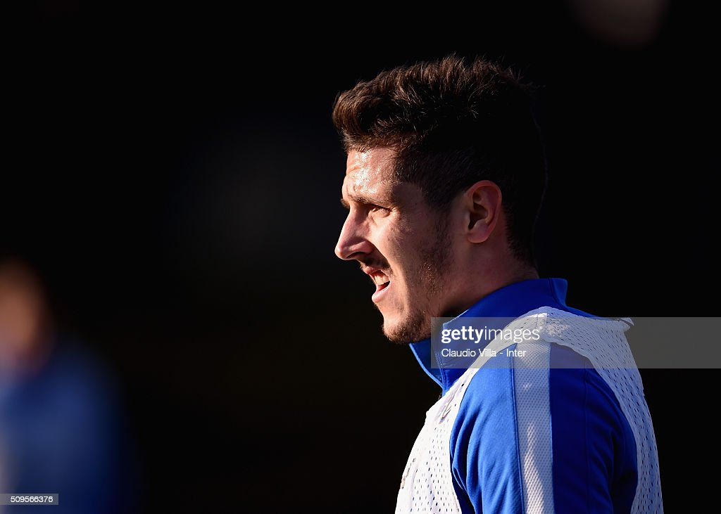 Stevan Jovetic looks on during the FC Internazionale training session at the club's training ground at Appiano Gentile on February 11, 2016 in Como, Italy.