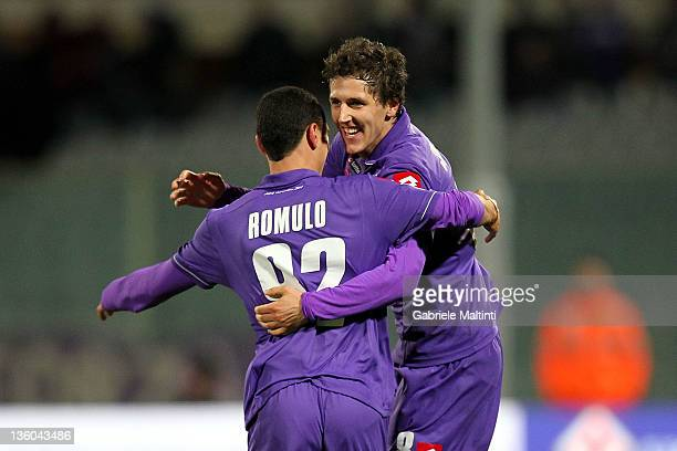 Stevan Jovetic of ACF Fiorentina celebrates after scoring a goal during the Serie A match between ACF Fiorentina and Atalanta BC at Stadio Artemio...