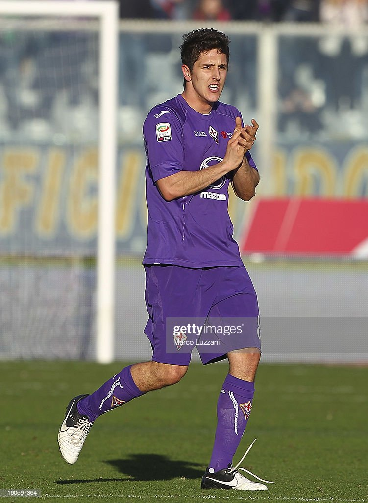 Stevan Jovetic of ACF Fiorentina celebrates his goal during the Serie A match between ACF Fiorentina and Parma FC at Stadio Artemio Franchi on February 3, 2013 in Florence, Italy.