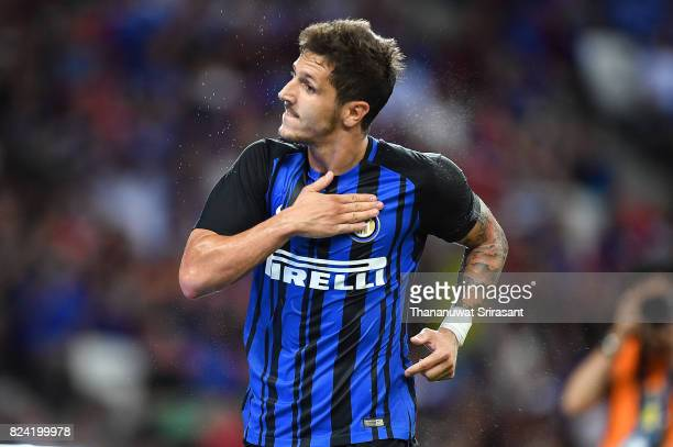 Stevan Jovetic of FC Interernazionale celebrates his goal during the International Champions Cup match between FC Internazionale and Chelsea FC at...