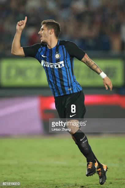 Stevan Jovetic of FC Internationale celebrates a goal during the 2017 International Champions Cup China match between Olympique Lyonnais and FC...