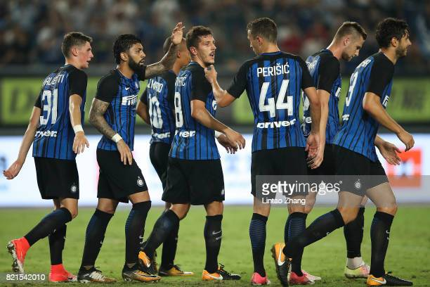 Stevan Jovetic of FC Internationale celebrates a goal with teammates during the 2017 International Champions Cup China match between Olympique...