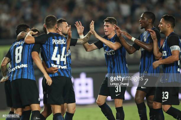 Stevan Jovetic of FC Internationale celebrates a goal with teammeat during the 2017 International Champions Cup China match between Olympique...