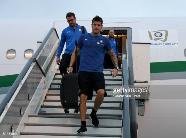 Stevan Jovetic of FC Internazionale arrives at Malpensa Airport on July 30 2017 in Milan