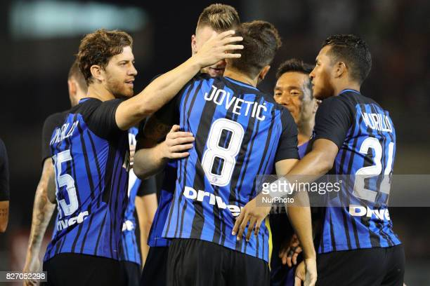 Stevan Jovetic of FC Internazionale celebrate the goal of 20 during the PreSeason 2017/2018 International Friendly FC Internazionale v Villareal CF...