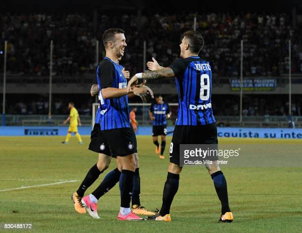 Stevan Jovetic of FC Internazionale celebrates after scoring the second during the PreSeason Friendly match between FC Internazionale and Villareal...