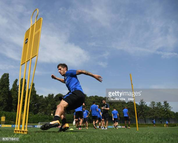 Stevan Jovetic of FC Internazionale in action during a training session at Suning Training Center at Appiano Gentile on August 3 2017 in Como Italy
