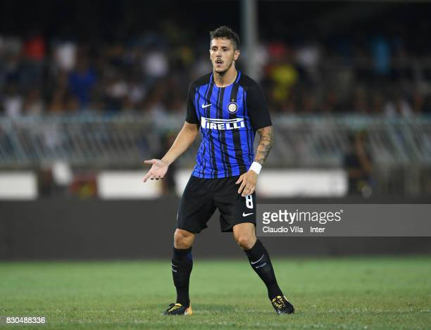 Stevan Jovetic of FC Internazionale in action during the PreSeason Friendly match between FC Internazionale and Villareal CF at Stadio Riviera delle...