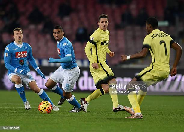 Stevan Jovetic of FC Internazionale in action the TIM Cup match between SSC Napoli and FC Internazionale Milano at Stadio San Paolo on January 19...