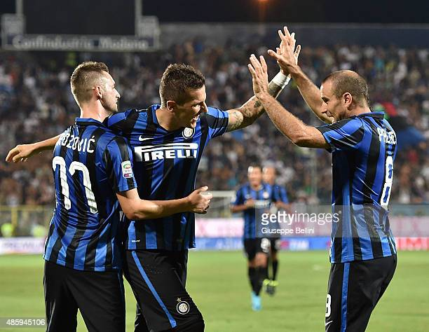 Stevan Jovetic of FC Internazionale Milano celebrates after scoring the opening goal during the Serie A match between Carpi FC and FC Internazionale...