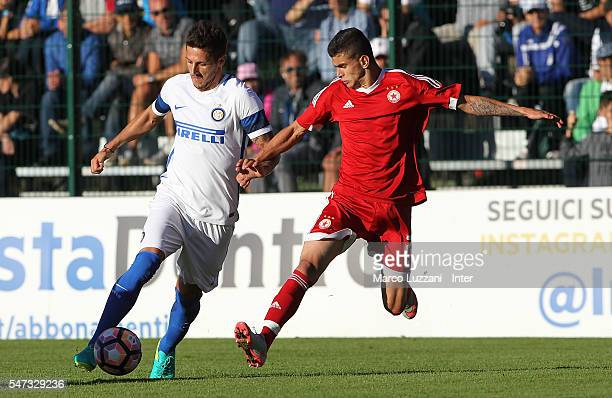 Stevan Jovetic of FC Internazionale Milano competes for the ball with Stoycho Atanasov of CSKA Sofia during the preseason friendly match between FC...