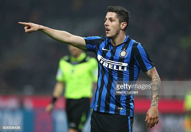 Stevan Jovetic of FC Internazionale Milano gestures during the Serie A match between AC Milan and FC Internazionale Milano at Stadio Giuseppe Meazza...