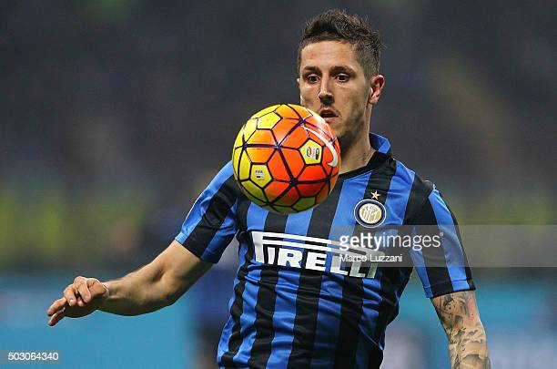 Stevan Jovetic of FC Internazionale Milano in action during the Serie A match between FC Internazionale Milano and SS Lazio at Stadio Giuseppe Meazza...