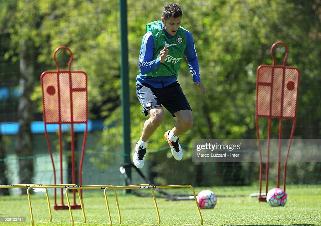 Stevan Jovetic of FC Internazionale Milano trains during the FC Internazionale training session at the club's training ground 'La Pinetina' on May 4, 2016 in Como, Italy.