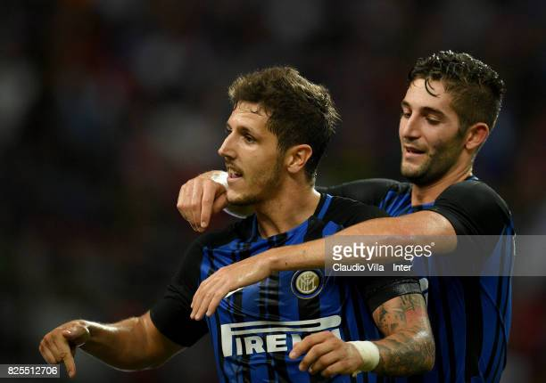 Stevan Jovetic of FC Internazionale of FC Internazionale celebrates after scoring the opening goal during the International Champions Cup match...