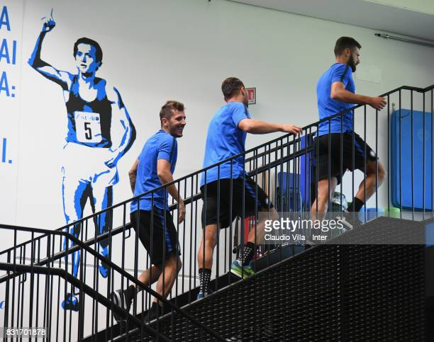 Stevan Jovetic of FC Internazionale smiles during a training session at Suning Training Center at Appiano Gentile on August 15 2017 in Como Italy