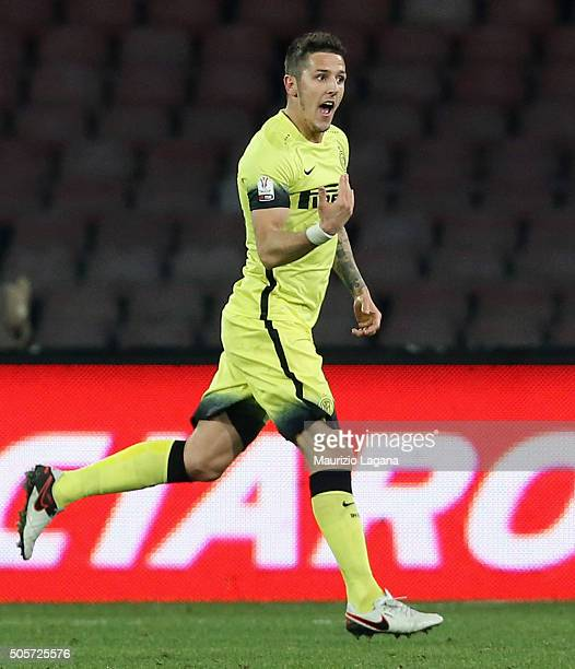 Stevan Jovetic of Inter celebrates after scoring the opening goal during the TIM Cup match between SSC Napoli and FC Internazionale Milano at Stadio...