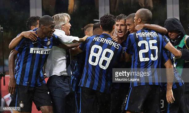 Stevan Jovetic of Inter celebrates after scoring the winning goal during the Serie A match between FC Internazionale Milano and Atalanta BC at Stadio...