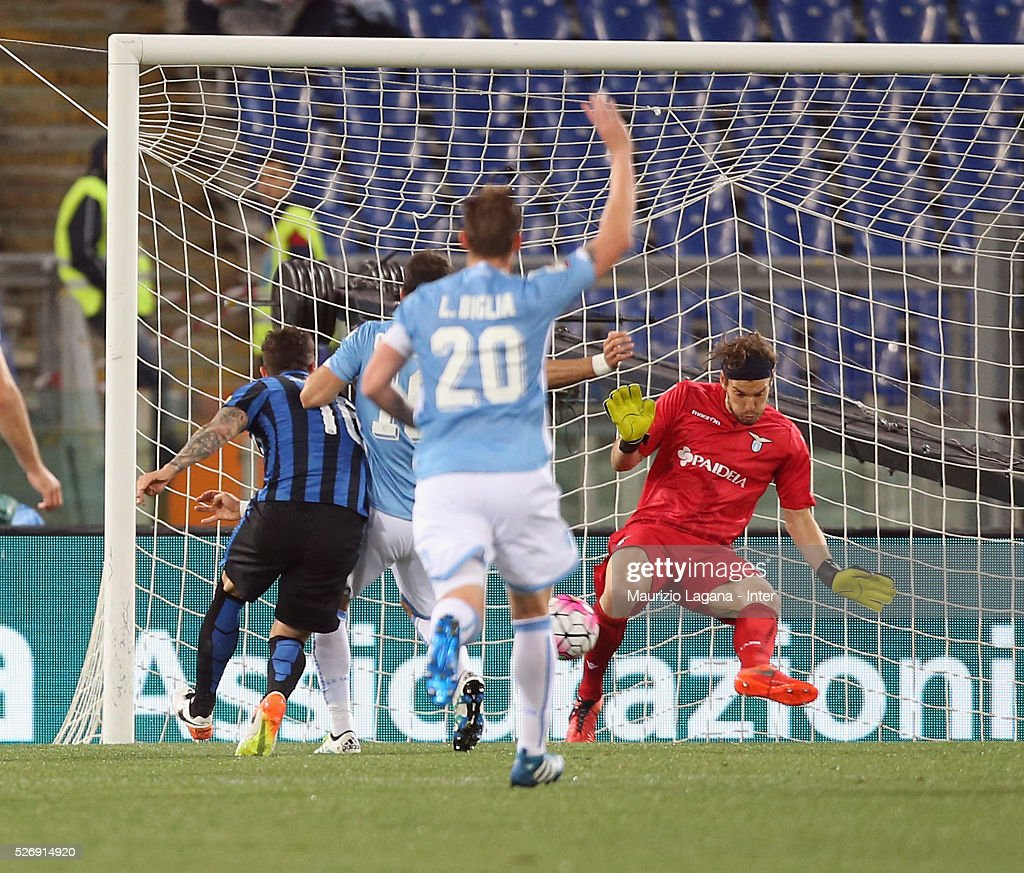 Stevan Jovetic of Inter misses the goal during the Serie A match between SS Lazio and FC Internazionale Milano at Stadio Olimpico on May 1, 2016 in Rome, Italy.