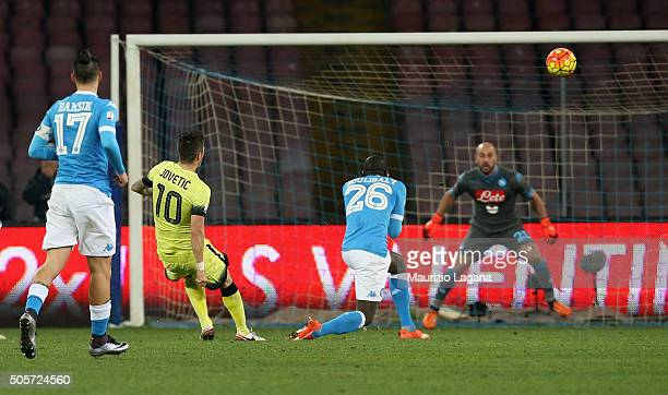 Stevan Jovetic of Inter scores his team's opening goal during the TIM Cup match between SSC Napoli and FC Internazionale Milano at Stadio San Paolo...