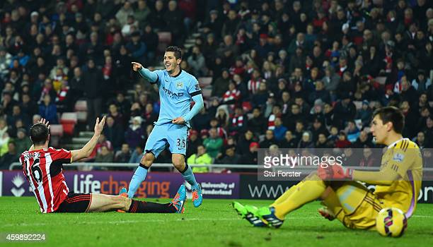 Stevan Jovetic of Manchester City celebrates after scoring the second goal during the Barclays Premier League match between Sunderland and Manchester...